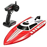 FunTech Radio Controlled 2.4GHz High Speed 18 MPH Electric RC Boat for Pools Bathtubs Lakes,(Red) Best Gifts for Kids and Adults