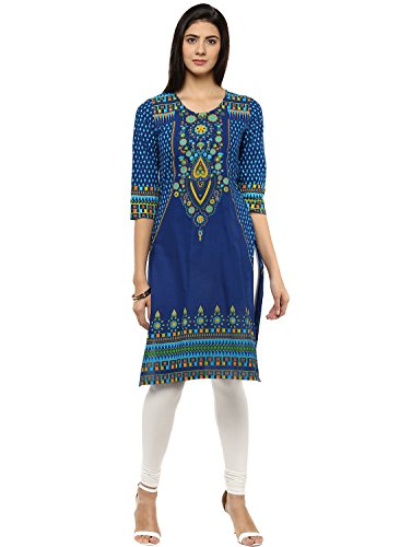 Evam Blue Printed Cotton-Cambric Long Kurta, Large, (Large Blue Kurta)
