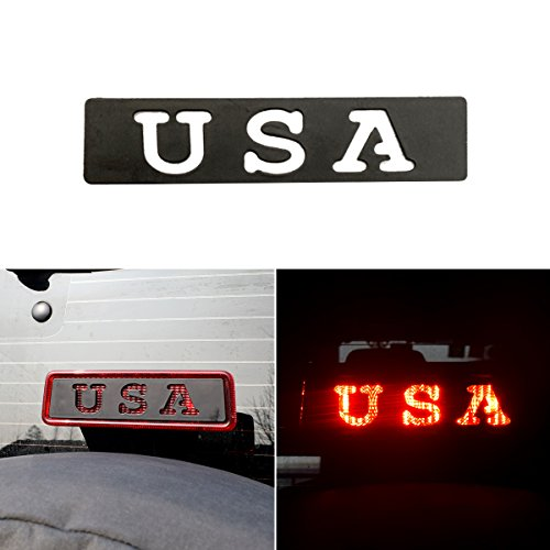 ICARS Black USA Third Brake Light Cover Accessories USA for 2007 2008 2009 2010 2011 2012 2014 2013 2014 2015 2016 2017 Jeep Wrangler JK JKU (Brake 3rd Cover Light)