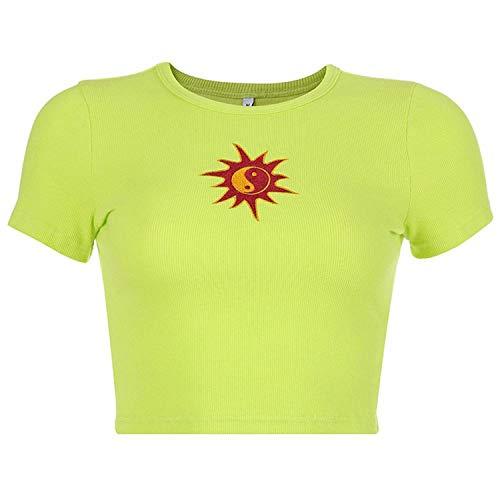 (Summer T-Shirt Short Sleeve Sun Embroidery Crop Tops 2019 Women Knitted Slim Leisure)