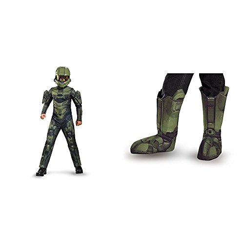 Master Chief Classic Costume, Large (10-12) With Master Chief Child Boot Covers - Kids Costume Cyclops
