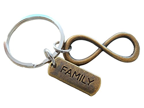 Family Tag with Bronze Infinity Symbol Keychain - For Infinity; Family Keychain