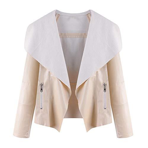 Powlance Jackets for Women Leather Autumn Retro Short Zipper Pockets Casual Outerwear Ivory