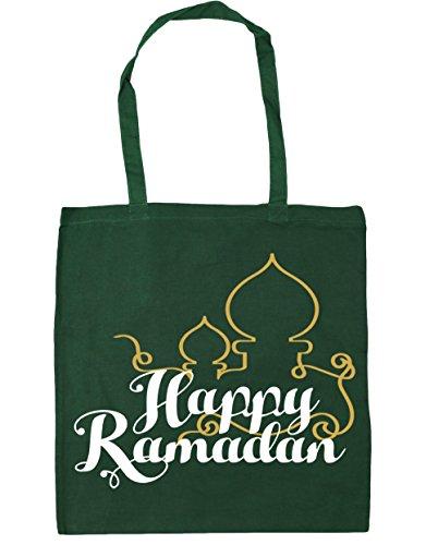 HippoWarehouse happy ramadán Tote Compras Bolsa de playa 42cm x38cm, 10litros verde oscuro