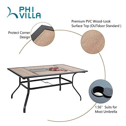 """Garden and Outdoor PHI VILLA 7 Piece Outdoor Dining Table Set, 61″x37″ Rectangular Dining Table with Wood Top & 1.56"""" Umbrella Hole and 6 Metal Chairs for Patio, Deck patio dining sets"""
