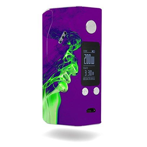 Decal Sticker Skin WRAP - Wismec Reuleaux RX200S - Green Smoke Effect Purple Background