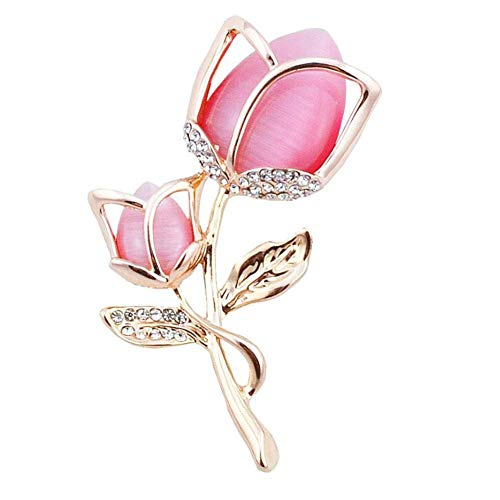 Ahugehome Women Brooch Pin Rose Flower Camellia Inlay Crystal Vintage Style Dress Party Wedding (F Rose Flower Crystal Rose Gold - Pin Jewelry Costume