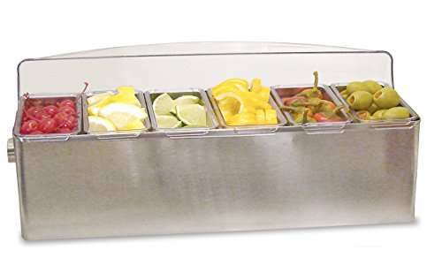 Co-Rect Stainless Steel Roll Top Condiment Holder, 6 quart (Stainless Steel Shakers Condiment)