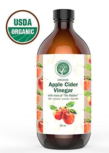 Apple Cider Vinegar Organic USDA, 6% Acidity, Pure, Undiluted, Raw & Unfiltered Leaving More of The Mother, Natures Appetite Suppressant Perfect with Garcinia Cambogia Weight Loss