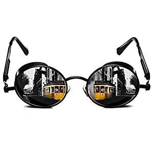 Rocknight Gothic Steampunk Polarized Sunglasses For Men Women Round UV Protection Metal Frame