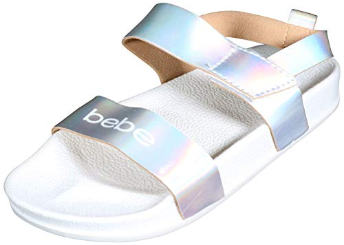 bebe Girls Stylish and Modern Iridescent Sandals with Holographic Straps, Silver/White, Size 11-12 M US Little ()