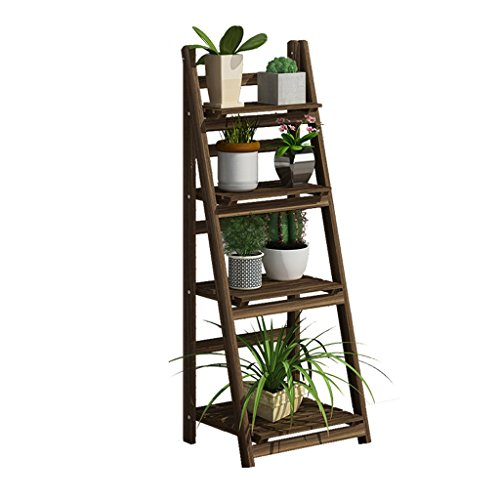 Foldable Pine Wooden Flower Display Rack, Indoor Flower Stand, Multi-Tier Retro Plant Stairs for Garden/Indoor/Outdoor/Balcony Flower Shelves (Size : 4 tier)