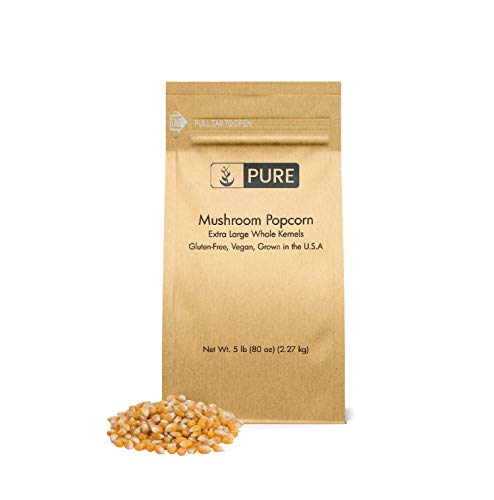 Mushroom Popcorn Kernels (5 lb) by Pure Organic Ingredients, Gourmet Popcorn, Gluten Free, Vegan, Ideal for Caramel Corn & Popcorn Balls, Eco-Friendly Packaging (Also in 15 lb)