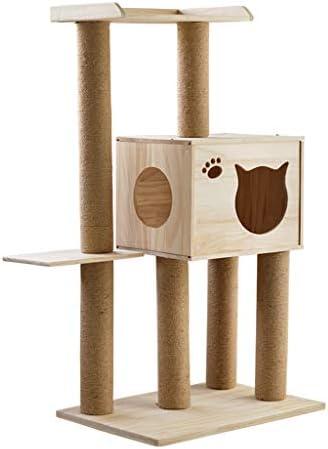 猫の木と塔、木製の子猫活動センター、サイザルで覆われたスクラッチポスト、豪華なアパートと猫のプラットフォーム、猫のおもちゃ用品 (Size : 60x40x105cm)
