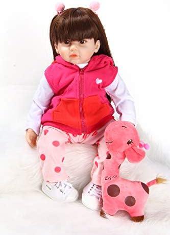ZIYIUI 22 Pollici 55 cm Reborn Doll Bambolina rinata Bambola del Bambino Bambola in Vinile siliconico Bambola realistica Ragazza Asiatica Capelli Lunghi Neri Reborn Doll