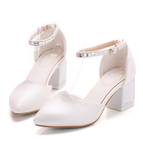 B Soft Womans Toe 4 Solid Material PU 5 Sandals Pointed White Closed Toe M Heels US WeenFashion Kitten Cd8Zqxdw