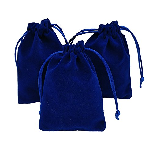 - Ankirol 20pcs Velvet Drawstring Bags 3.5x 4.7'' Jewelry Gift Bags Pouches Favors (blue)