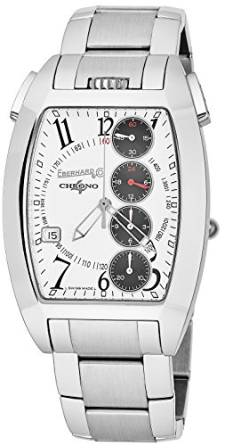 Eberhard & Co Chrono 4 Temerario Mens Stainless Steel Automatic Chronograph Watch - Tonneau White Face Casual Swiss Watch For Men 31047.4]()
