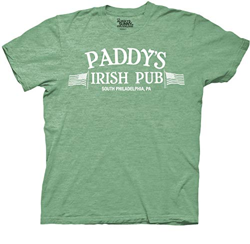 It's Always Sunny in Philadelphia Paddys Irish Pub Adult T-Shirt (Heather Kelly, X-Large)