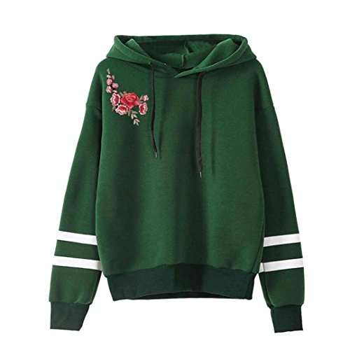 Women Teen Girls Fashion Long Sleeve Applique Hoodies Sweatshirt Pullover Casual Tops Blouse (M, Green)