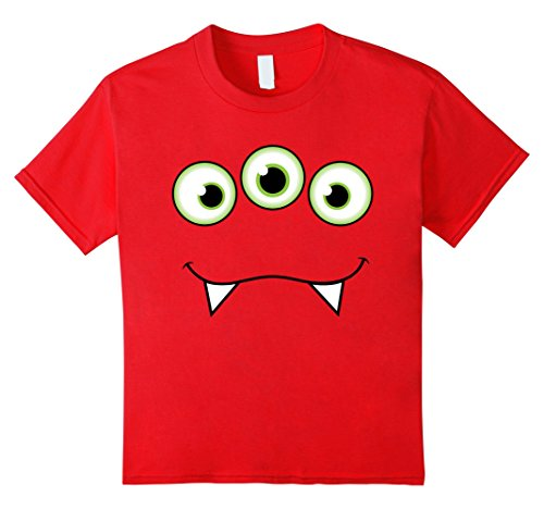 Kids Monster Face Halloween T-Shirt - Cute Monster Costume 6 Red