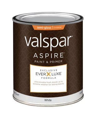 Valspar Aspire Paint Acrylic Exterior Semi Gloss White 1 Qt Low Voc