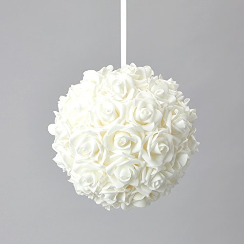 """Simply Elegant 10"""" Round Foam Pomander Rose Kissing Ball with Satin Ribbon for Hanging Wedding Decor and Centerpieces (6 Pieces) (White)"""