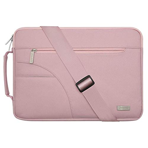 MOSISO Laptop Shoulder Bag Compatible with 15-15.6 inch MacBook Pro, Ultrabook Netbook Tablet, Polyester Protective Briefcase Carrying Handbag Sleeve Case Cover with Side Handle, Pink
