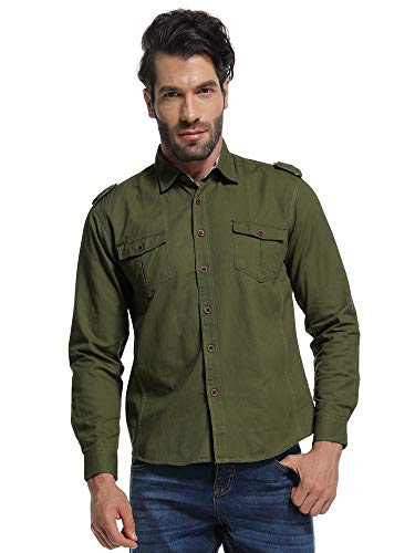 Men's Long Sleeve Military Style Cargo Tactical Work Shirt Army Green L - Cargo Pocket Shirt