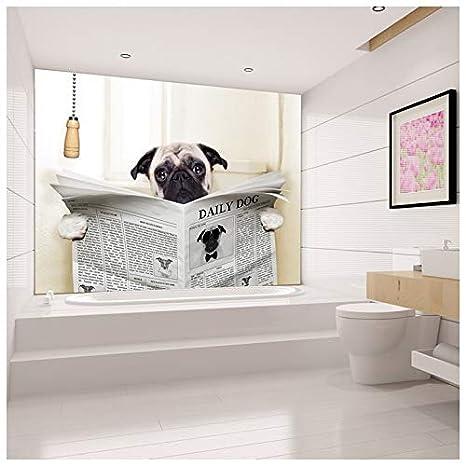azutura Lustiges Tier Fototapete Mops Tapete Badezimmer ...