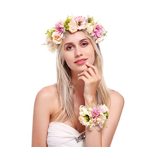 - DDazzling Nature Berries Flower Crown with Floral Wrist Band for Wedding Festivals (#Purple and Champagne)