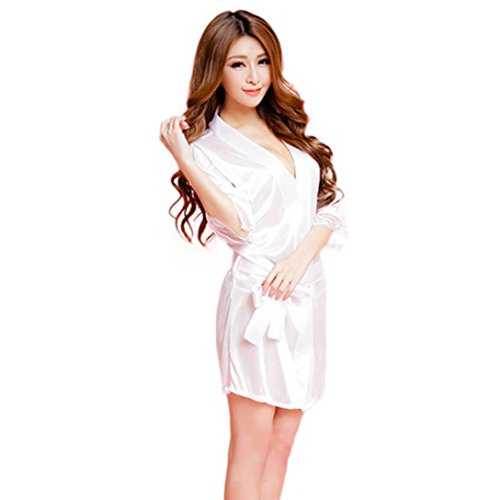 - Bokeley Women Lingerie, Women Fashion Classic Bathrobe Pure Role-Playing Sexy Lingerie Wild Temptation (White, Free Size)