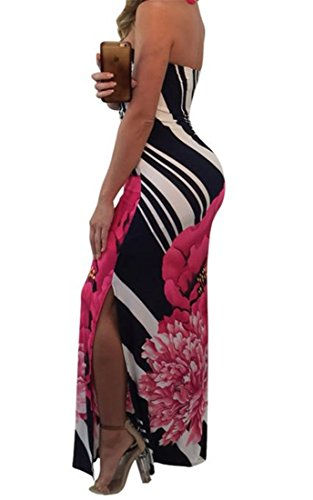 Clubwear Slit Dress Sexy Maxi Backless Side Bodycon Red Floral Women's Cromoncent Print Strapless IPgw8Sq