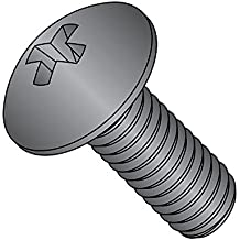 """Steel Truss Head Machine Screw, Black Oxide Finish, Meets ASME B18.6.3, #3 Phillips Drive, 1/4""""-20 Thread Size, 1/4"""" Length, Fully Threaded, Imported (Pack of 50)"""