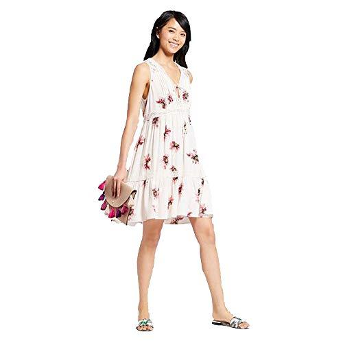 (Xhilaration Women's Floral Print Sleeveless V - Neck Babydoll Sundress- Ivory -Medium)