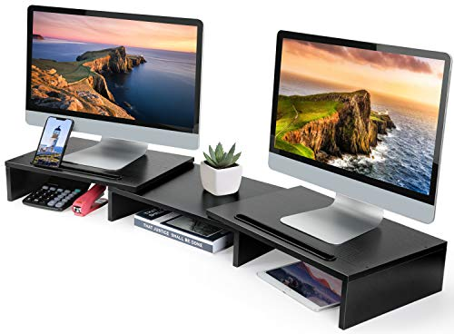 HUANUO Dual Monitor Stand - 3 Shelf Computer Monitor Riser Stand with Adjustable Length & Angle, Versatile Slot, Desktop Stand Storage Organizer for Home & Office Use