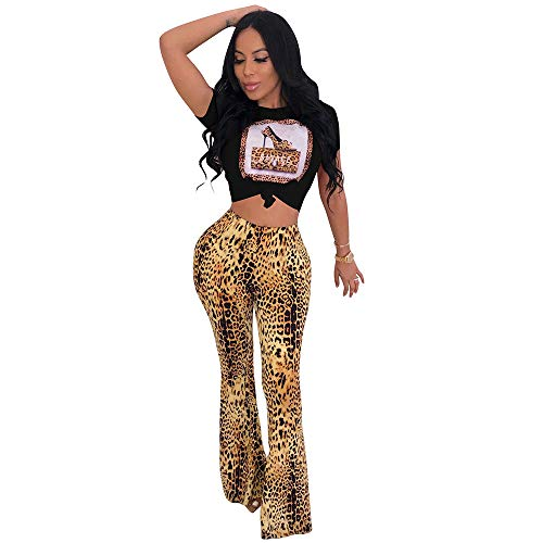 Women's Sexy Two Piece Outfits Leopard Print Hot Drilling Shirt Long Wide Leg Flare Pants Jumpsuit Set Black