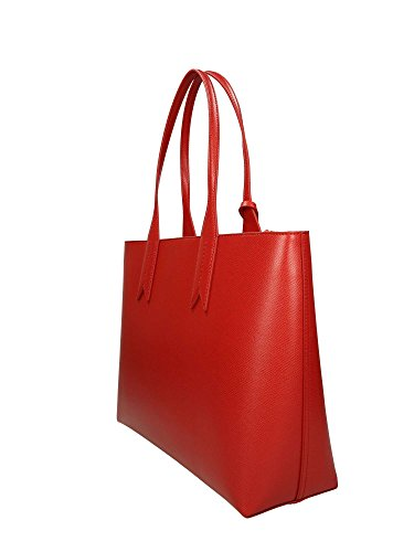 Shopping Logo Red Leather Emporio Armani Femme Handbag THnwp4W