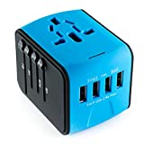 International Travel Adapter Universal Power Adapters Plug Converter Worldwide All in One with 4 USB Ports and AC Socket Perfect European Adaptor for US EU UK AUS Asia Europe Italy American (Blue)