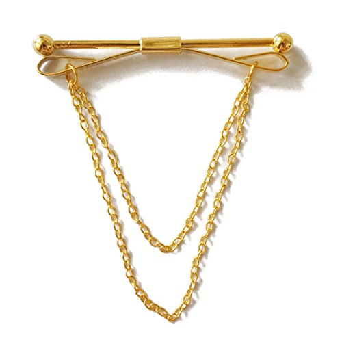 Sunny Home Mens Collar Bars Metal Collar Pins Brooch Tips with Chain (Golden)