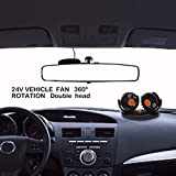 ditional 12V Electric Car Cooling Fan, 360 Degree Adjustable Dual Head | Plugs Into Cigarette Lighter Low Noise, Powerful Cooling Portable Personal Fan -for Summer efficient