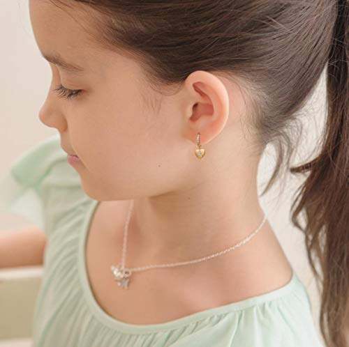 Initial Hoop Earrings Heart Drop Dangle Alphabet Letters A To Z Hoop Earrings for Girl 14K Real Gold Plated Huggie Earrings