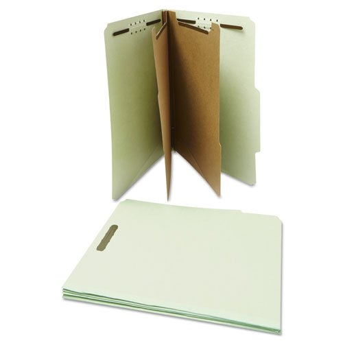 Universal Pressboard Classification Folder, Letter, Six-Section, Gray-Green, 10/Box (10273) Letter Six Section