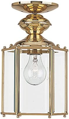 Sea Gull Lighting 6008-02 Classico One-Light Outdoor Semi-Flush Convertible Pendant with Clear Beveled Glass Panels, Polished Brass Finish