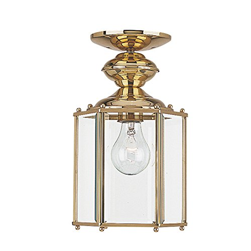 (Sea Gull Lighting 6008-02 Classico One-Light Outdoor Semi-Flush Convertible Pendant with Clear Beveled Glass Panels, Polished Brass Finish)