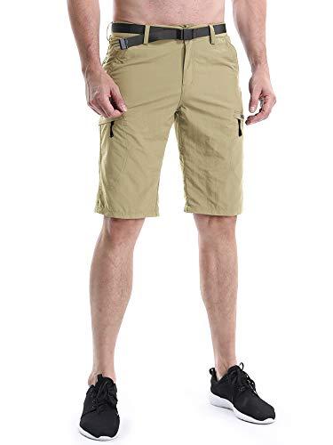 OCHENTA Men's Outdoor Expandable Waist Lightweight Quick Dry Shorts Khaki Tag 34 - US 32 by OCHENTA (Image #2)