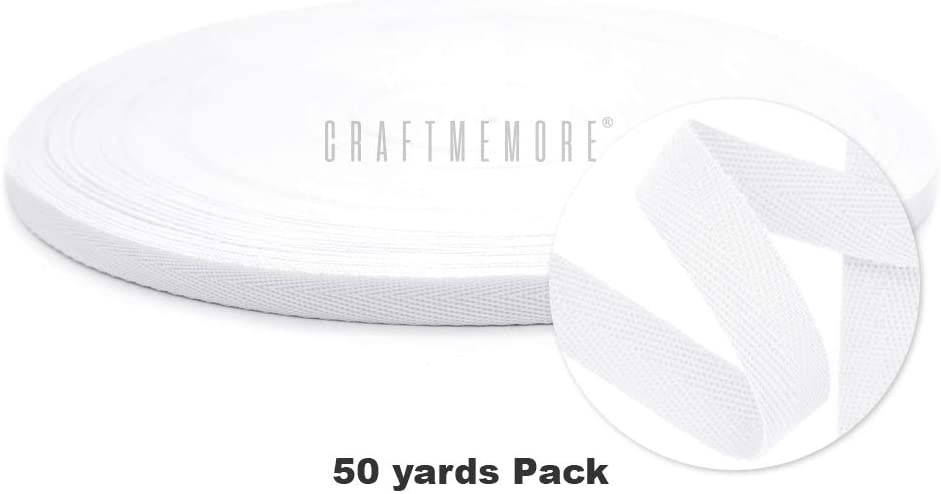 CRAFTMEMORE White Twill Tape 50 Yards Fabric Ribbons Webbing Herringbone Twill Bias Binding Tape for Clothes Sewing Craft Trim Lace MP1 3//8 inch