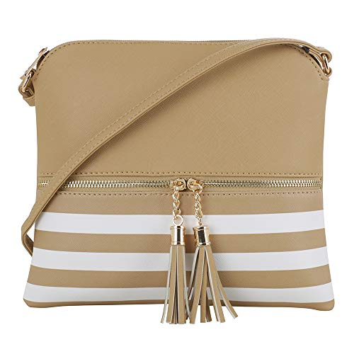 SG SUGU Lightweight Medium Crossbody Bag with Tassel and Zipper Pocket (XB Beige)