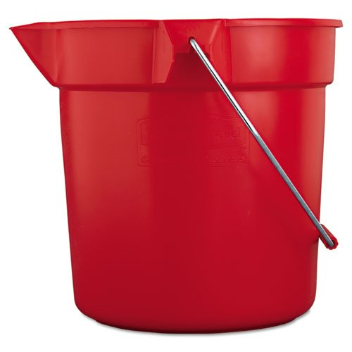 Rubbermaid Commercial 10-Quart BRUTE Round Utility Pail, Plastic, 10 1/2dia x 10 1/4h, Red - one pail. (Utility Round Bucket)