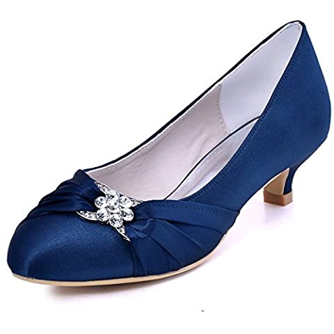 ElegantPark EP2006L Women Closed Toe Comfort Heel Rhinestone Satin Wedding Bridal Shoes Navy Blue US 12